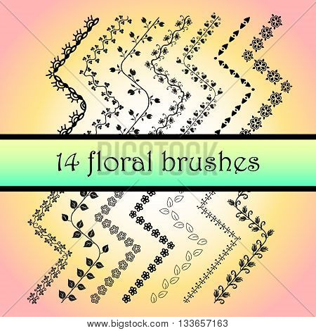 All used pattern brushes are included in brush palette. 14 Vector Decorative Scribble Paintbrushes with Inner and Outer Corners. Hand Drawn Ink Brushes. Stock vector