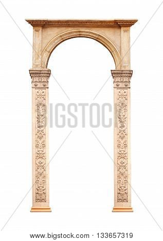 Beautiful antique arch isolated on white background.