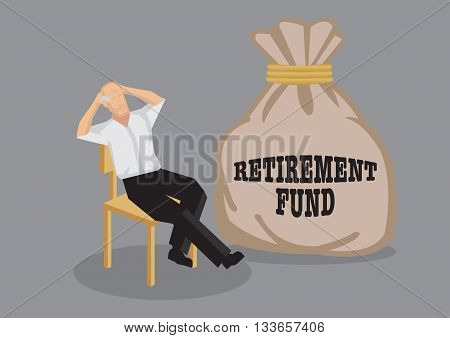 Old man sit back on chair in relaxed pose with a big sack that says retirement fund. Creative vector cartoon illustration on financial security for old age concept isolated on grey background.