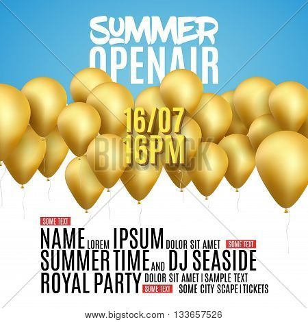 Open Air Festival Party Poster design. Flyer or poster template for Summer Open Air with golden balloons.