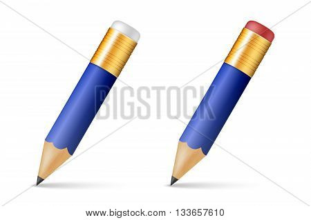 Blue wooden sharp pencils isolated on a white background. Vector EPS10 illustration.