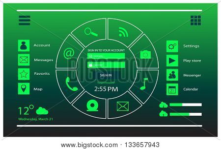 User interface mobile and web design neon green