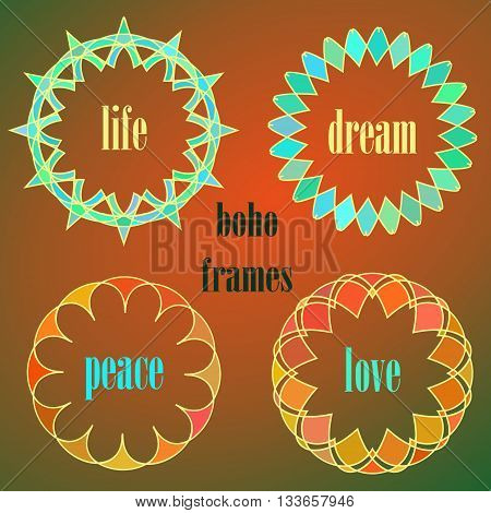 Indigenous ethnic frames set. Boho styled aztec round vector frames. Colored indian circle vector ornaments.