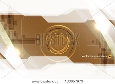 White and brown creative glossy vector abstract technology background