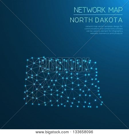 North Dakota Network Map. Abstract Polygonal Us State Map Design. Internet Connections Vector Illust