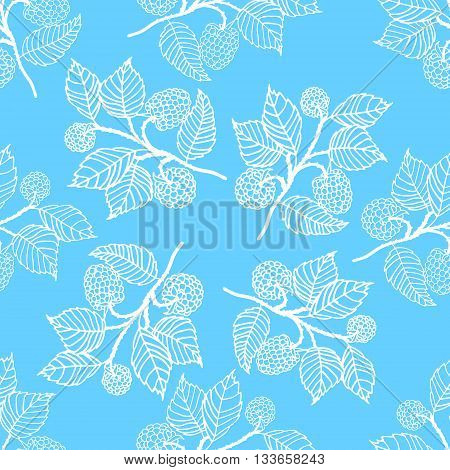 Tender seamless pattern with blackberries. Blue vector backgroung.