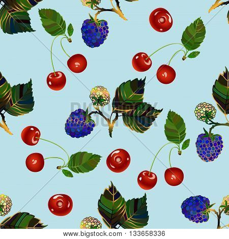 Cherry and blackberry seamless pattern. Realistic illustration of red cherries and blue blackberries. Vector texture for textile, wartrapping, wallpapers and other surfaces.