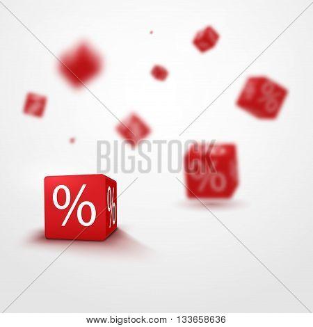 3D discount boxes dice for store market and shop. Sale promotional concept.