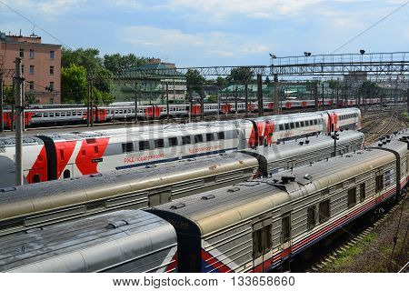 Moscow, Russia - June 03.2016. Trains at access roads to a Kursk station