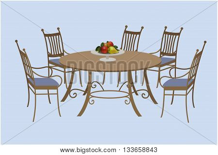 Living room furniture chairs and a round table a bowl of fruit. Vector illustration hand drawing.