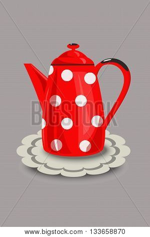 Restored vintage red enamel coffee pot with polka dots and a napkin. Vector illustration hand drawing.