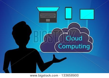Concept of Cloud Computing vector educational presentation and lecture.
