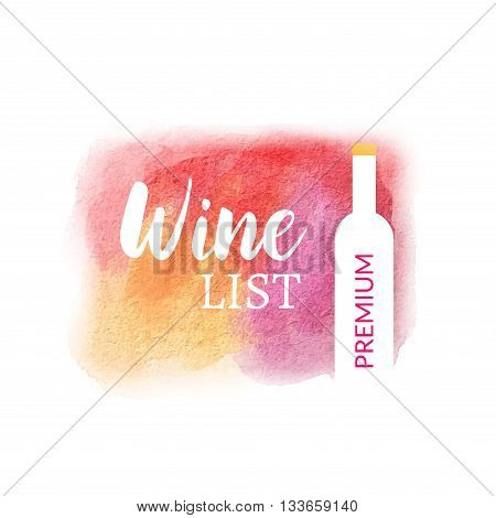 Wine list watercolor design template. Colorful wine list design.