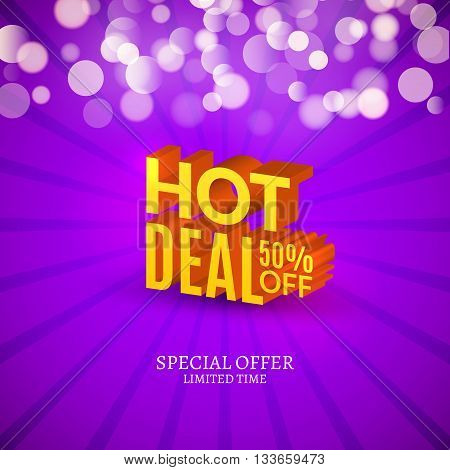Hot deal sale 3d letters poster. Promotional marketing Sale poster.