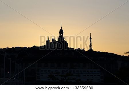 LYON, FRANCE - MAY 16, 2013: This is hill de Fourviere in Lyon sunset sky.