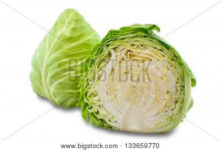 young fresh cabbage on an isolated background