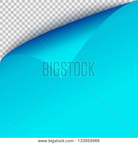 Curl corner blue paper template. Transparent grid. Empty isolated background page.