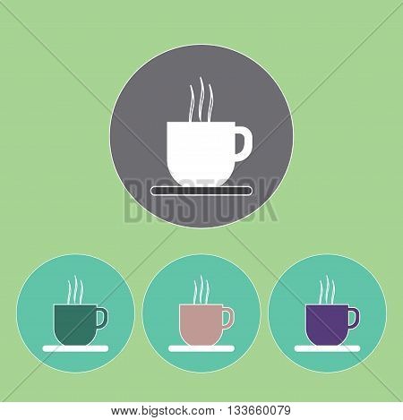 A set of cups of hot coffee with foam and steam in outlines over a light green background digital vector image