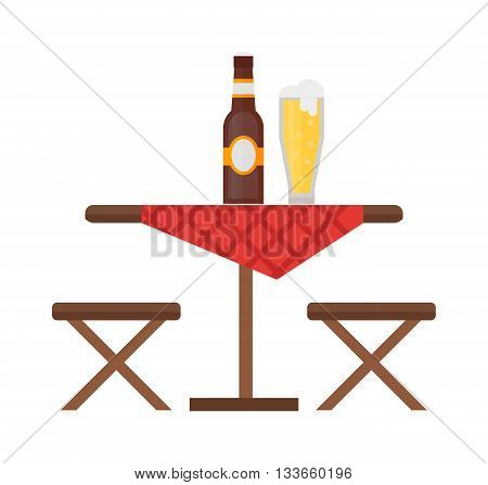 Camping table and chair vector set. Summer picnic leisure camping table and furniture empty camping table. Nature equipment vacation camping table and barbecue season camping table.