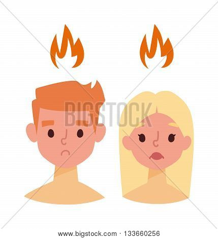 Sunburn on boy and girl face and vector sunburn face character. Summer sunburn pain red skin and sunburn summer protection boy and girl face. Exposure redness danger sunbathing ultraviolet problem.