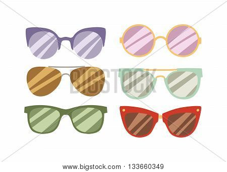 Illustration of sun glasses vector. Beautiful young female fashion glasses and sexy sunglasses summer stylish fashion glasses. Fashion glasses trendy lifestyle accessory. Fashion glasses.