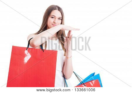 Attractive Young Girl Making A Timeout Or Stop Sign