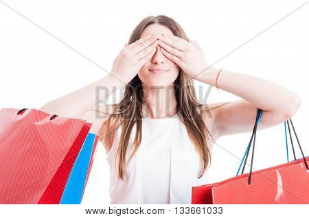 See No Evil Concept With Smiling Shopaholic Woman