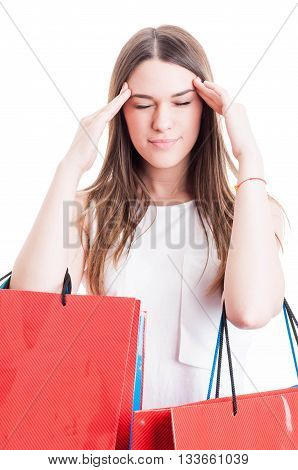 Young Shopaholic Having A Headache And Looking Tired