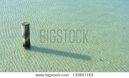 Wooden mooring pole in clear water on a sandy ground.