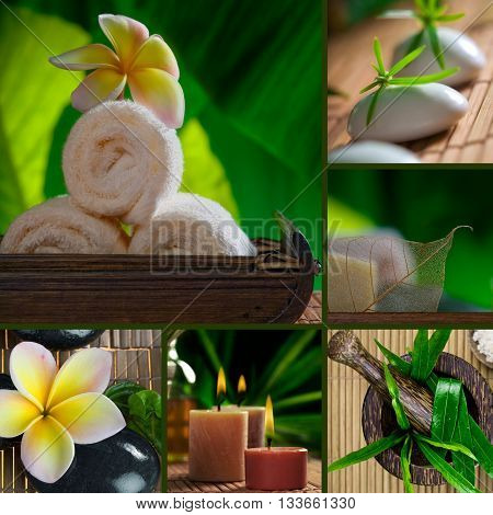 Spa theme collage composed of a few different images