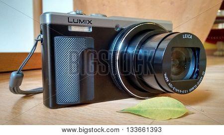Hannover, Germany, 9th April 2016. Closeup illustrative editorial shot of the Panasonic Lumix TX-81 camera in a natural surrounding.
