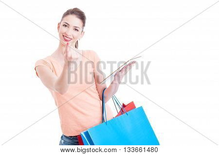 Young Lady Shopper Making Come Here Gesture Holding Tablet