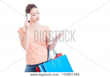 Online Shopping Concept With Female Holding Credit Or Debit Card