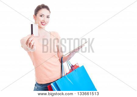 Female Holding Shopping Bags Showing Credit Or Debit Card