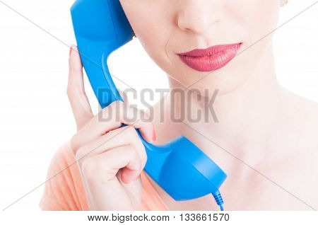 Mouth Close-up Of Female Holding  Receiver As Shopping Contact Concept