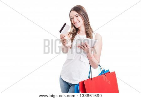 Young Cute Customer Doing Using Tablet For Online Shopping