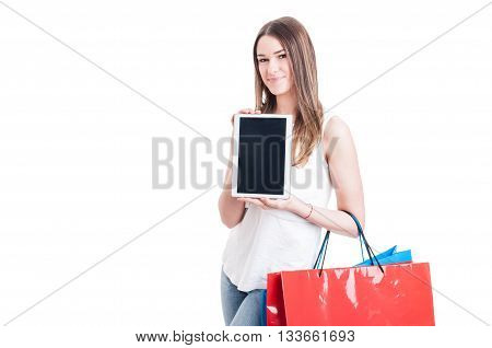 Shopaholic Pretty Girl Holding Modern Tablet Pc With Blank Screen