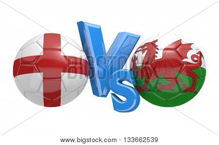 Football competition between national teams England and Wales, 3D rendering