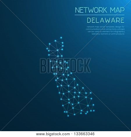Delaware Network Map. Abstract Polygonal Us State Map Design. Internet Connections Vector Illustrati