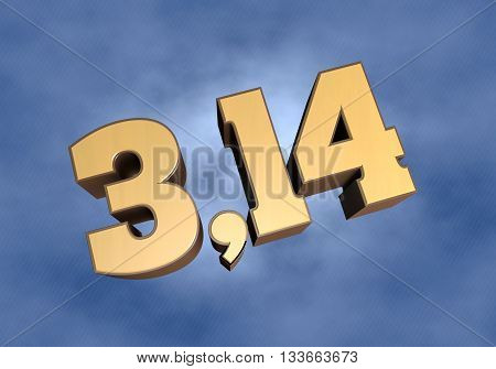 Pi number illustration on the cloudy background