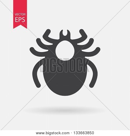 Mite icon vector. Encephalitis tick sign isolated on white background. Flat design. Vector illustration