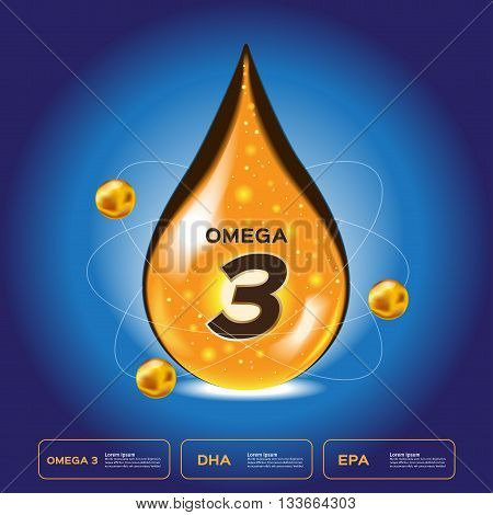 omega 3 drop . omega 3 logo icon and vector .