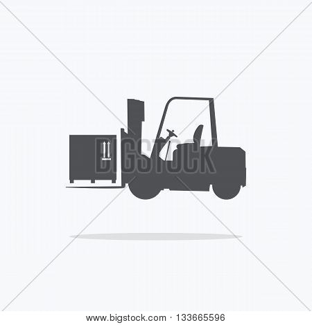 Forklift. Icon forklift with cargo. Vector illustration.