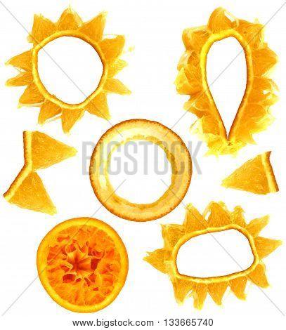 fresh orange tangerine mandarin object isolated fruit on white background for scrapbook leaves and seeds object
