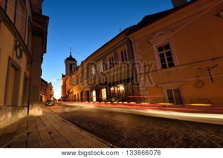 VILNIUS LITHUANIA - OCTOBER 06: The Old Town of Vilnius on October 06 2015 in Vilnius Lithuania. In 1994 the Vilnius Old Town was included in the UNESCO World Heritage List.