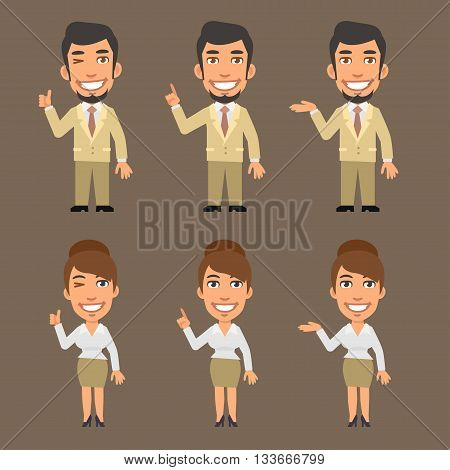Vector Illustration, Businessman and Businesswoman Show and Indicate, format EPS 8