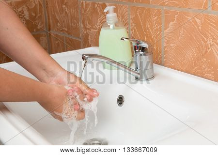 Woman Washing Hands. Cleaning Hands. Hygiene, palms