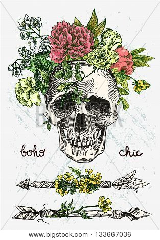 Beautiful hand drawn illustration boho flowers, skull, arrows. Elements for boho-style wedding invitations. Decorative floral illustration with flowers and skull.