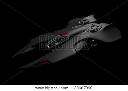 Futuristic Spaceship in Motion. nice 3D Rendering