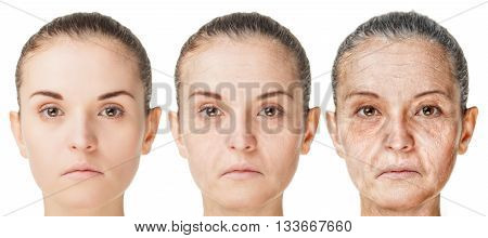 Aging Process, Rejuvenation Anti-aging Skin Procedures Old And Young Faces Isolated On White Backgro
